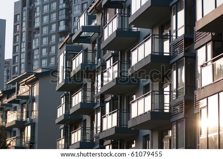 Sunset China Real Estate - Empty Modern executive apartments - stock photo