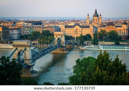 Sunset cityscape of Budapest, Hungary. - stock photo