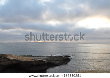 Sunset Cliffs at Point Loma near San Diego, California - stock photo