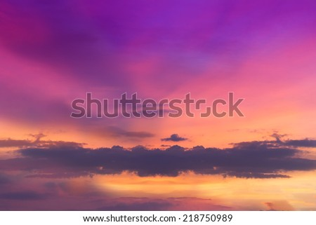 Sunset cloud, Violet Sunset on a cloudy sky - Nature composition Thailand.