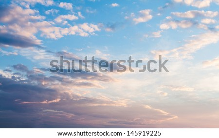 Sunset clouds, vanilla color.  - stock photo
