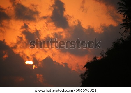 sunset cloudy sky
