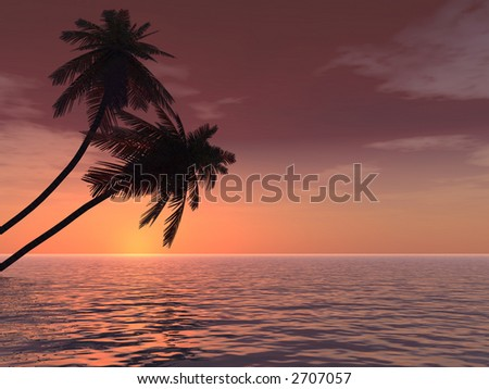 Sunset coconut palm trees on a beach - 3d illustration.