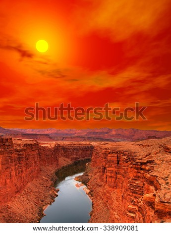 Sunset Colorado river and cliffs at Lee's Ferry Arizona - stock photo