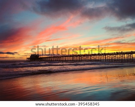 Sunset colorful reflection on water from Newport Beach California