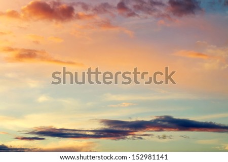 Sunset colorful sky. Beautiful colorful sky. Sky background  - stock photo