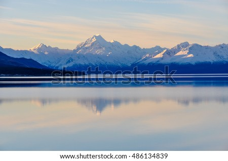 Sunset colors and reflection at Mount Cook n the Aoraki/Mount Cook National Park, New Zealand