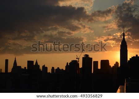 Sunset Construction in Midtown Manhattan