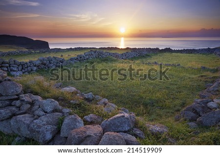 sunset & country - stock photo