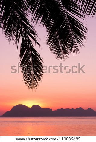 Sunset Divine Fiery Backdrop - stock photo