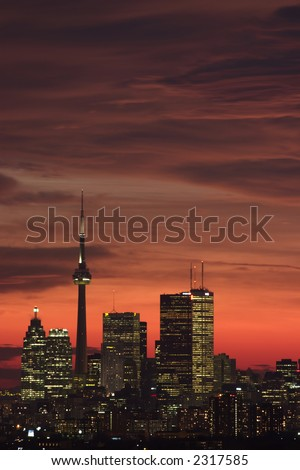sunset downtown toronto in a winter day