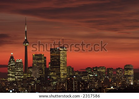 sunset downtown toronto in a winter day - stock photo