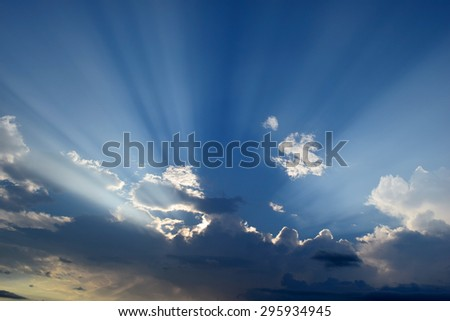 Sunset dramatic blue sky clouds in evening - stock photo