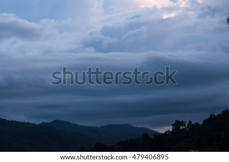 Sunset, Early morning, Evening, Dusk and dawn, Cloudy, sky with mountain hill.