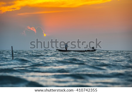 Sunset evening sea