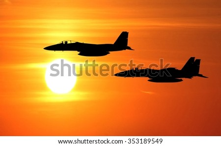 sunset fighter jet