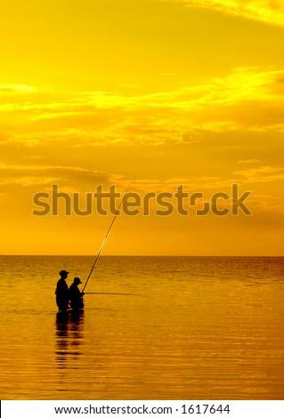 sunset fishing - stock photo