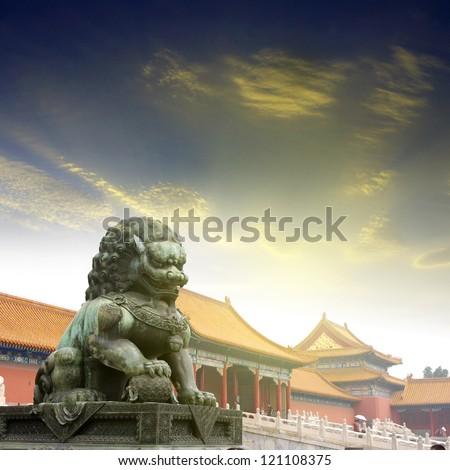 Sunset Forbidden City Lions - stock photo