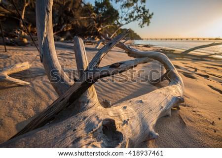 sunset fraser island, australia - stock photo