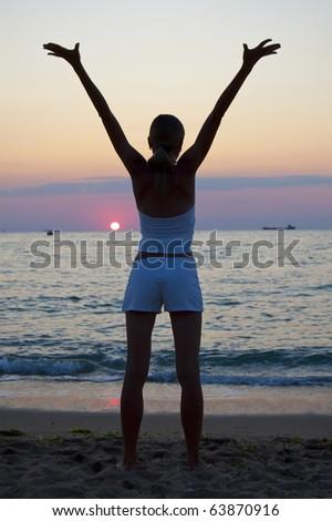 Sunset freedom - stock photo
