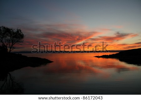 Sunset, Freycinet National Park, Tasmania, Australia - stock photo