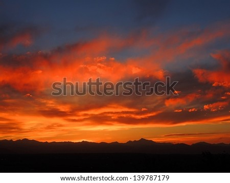 Sunset from broomfield, Colorado, over the front  range - stock photo