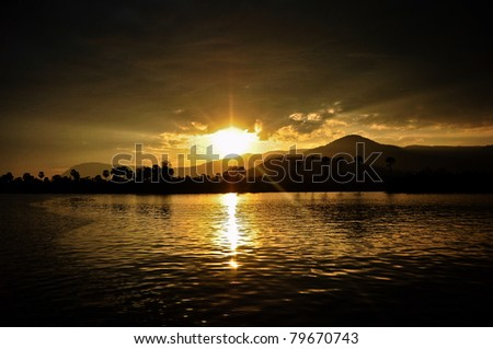 Sunset from Cambodia - stock photo