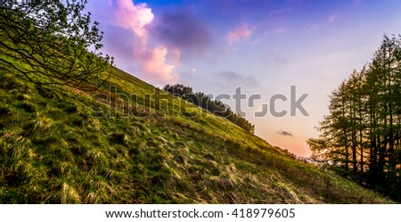 Sunset from Falkland Hill, Fife, Scotland - stock photo