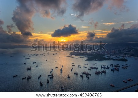 Sunset from harbour in Hongkong at top view - stock photo