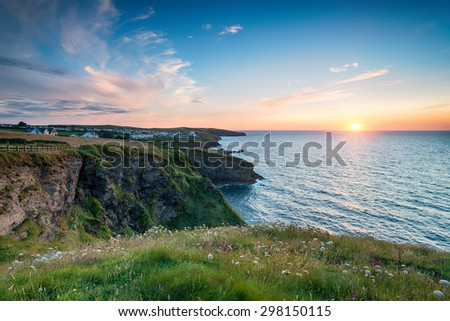 Sunset from the cliffs at Port Gaverne in Cornwall, looking out to Port Isaac