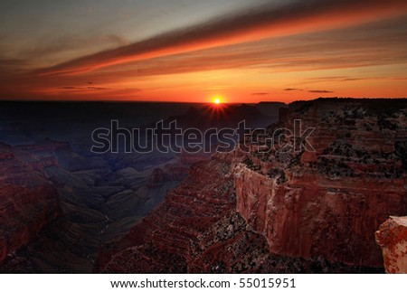 Sunset from the north rim of the Grand Canyon, Arizona