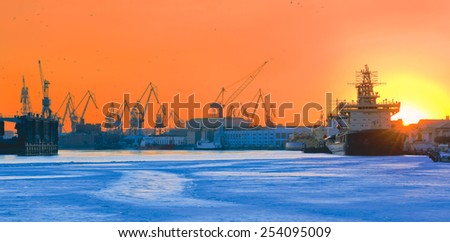 Sunset. Frozen Neva river. St.-Petersburg, Russia - stock photo