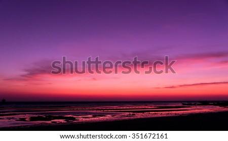 Sunset Glow Burning Skies  - stock photo