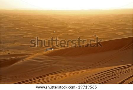 Sunset, golden Light at the desert at United Arabian Emirates - stock photo