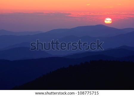 sunset, Great Smoky Mountains National Park, USA - stock photo