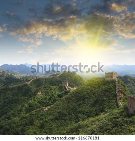 Sunset Great Wall - stock photo