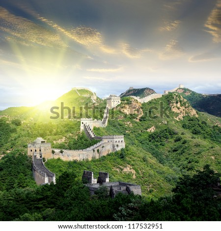 Sunset Great Wall - stock photo