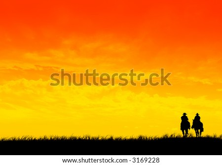 Sunset horse ride - stock photo
