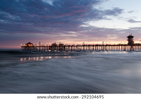 Sunset Huntington Beach  - stock photo