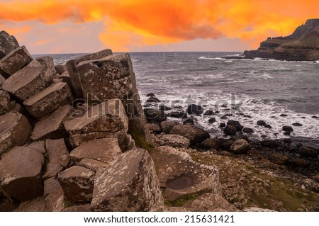 Sunset Image of Giant's Causeway in Northern Ireland - stock photo