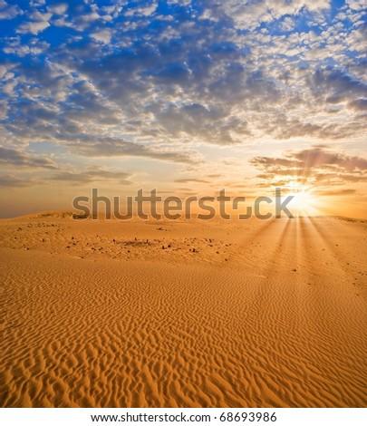 sunset in a desert - stock photo