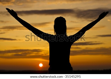 Sunset in a relaxed woman.