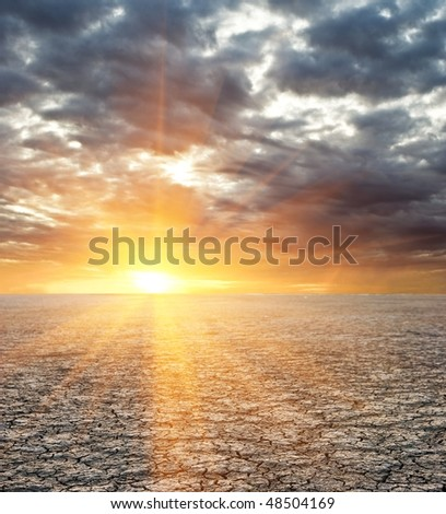sunset in a saline land desert