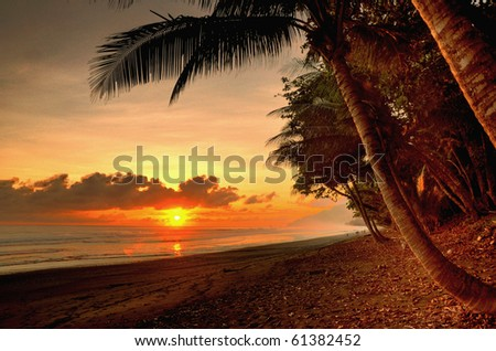 Sunset in a virgin beach of Corcovado National Park in Costa Rica - stock photo