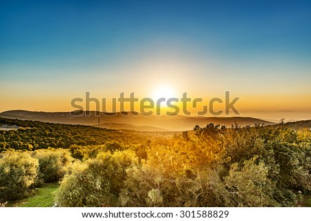 Sunset in Ajloun, Jordan. Ajloun is located about 76 km north west of Amman, with Israel visible. - stock photo