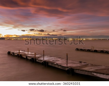Sunset in Albufera, Valencia, long exposure - stock photo
