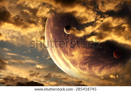 Sunset in alien planet. Elements of this image furnished by NASA - stock photo