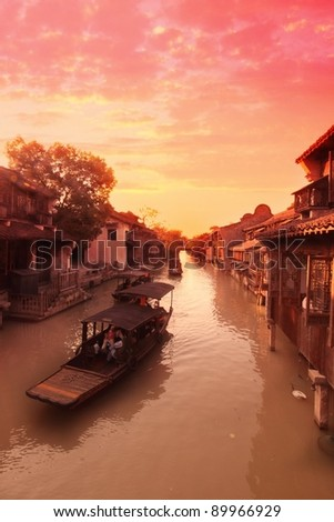 Sunset in an ancient water village in China - stock photo