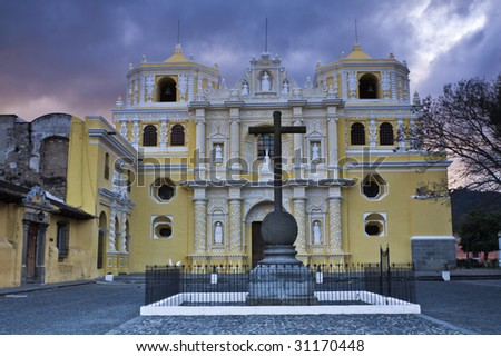 Sunset in Antigua - La Merced - stock photo