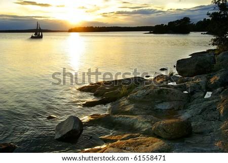 Sunset in archipelago - stock photo